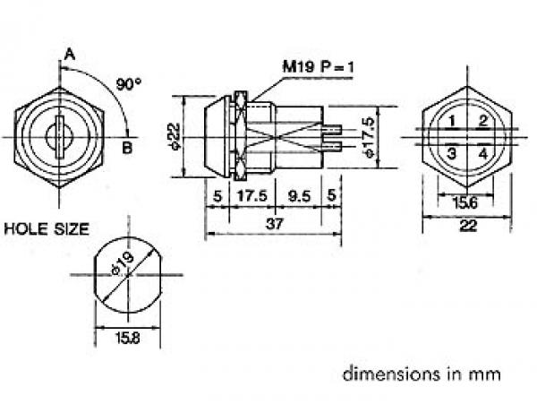 Extrem Schlüsselschalter 4-polig Ein / Aus Einbau 19mm max 230V 2A KS3 YY56