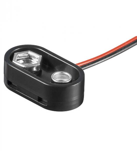 Batterieclip für 9-V Blöcke  I-Form Plastikgehäuse mit Schutzkragen