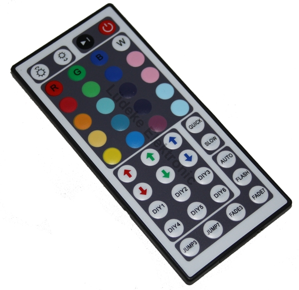 led rgb controller mit ir fernbedienung mit effekten und program l deke elektronic. Black Bedroom Furniture Sets. Home Design Ideas