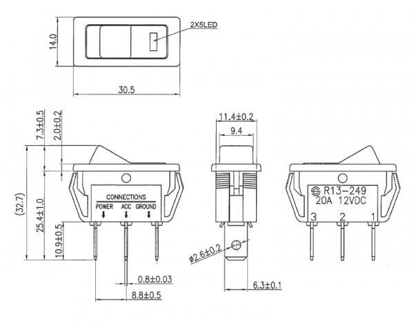 2x Wippschalter Schalter ein//aus 12V 16A rot Kippschalter 1,62 EUR//Stück