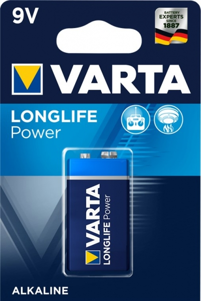 Varta Alkaline Batterie Longlife Power (High Energy) 9V Block 6LR61 1ér Pack 4922