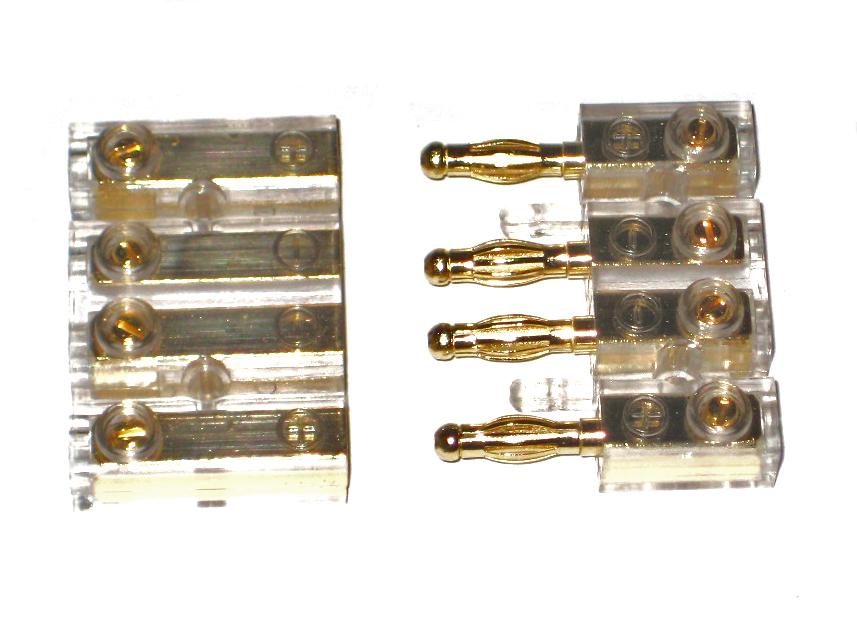 4 fach Car Hifi Kabel Steckverbinder Bananne vergoldet max 4mm² ...