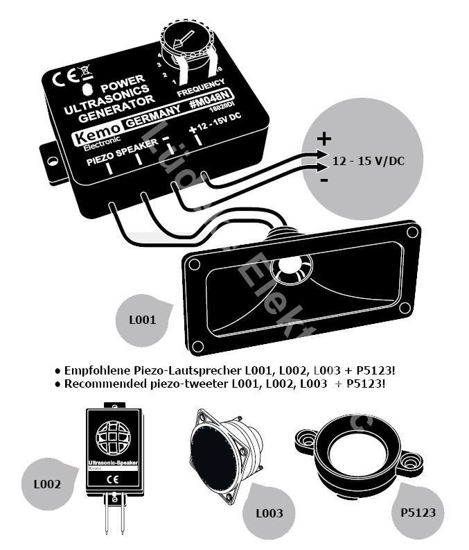Ultraschall Generator 8kHz - 40khz 12V - 15V DC M048N Kemo | Lüdeke ...