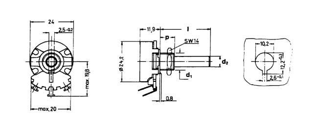 draht drehpoti potentiometer 6mm mono linear 1 0k ohm. Black Bedroom Furniture Sets. Home Design Ideas