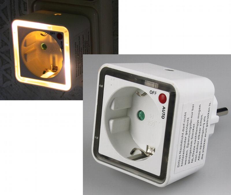 led nachtlicht zwischenstecker 230v mit d mmerungssensor. Black Bedroom Furniture Sets. Home Design Ideas