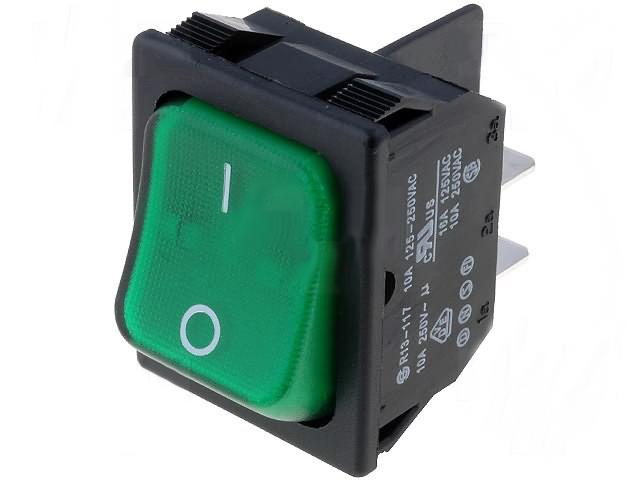 Wippschalter 1-polig 12V//20A Kfz Wippenschalter Schalter grün grüne Wippe
