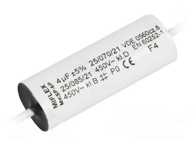 Betriebs und Motorkondensator Miflex 6,0uF mit Kabel MKSP-5P