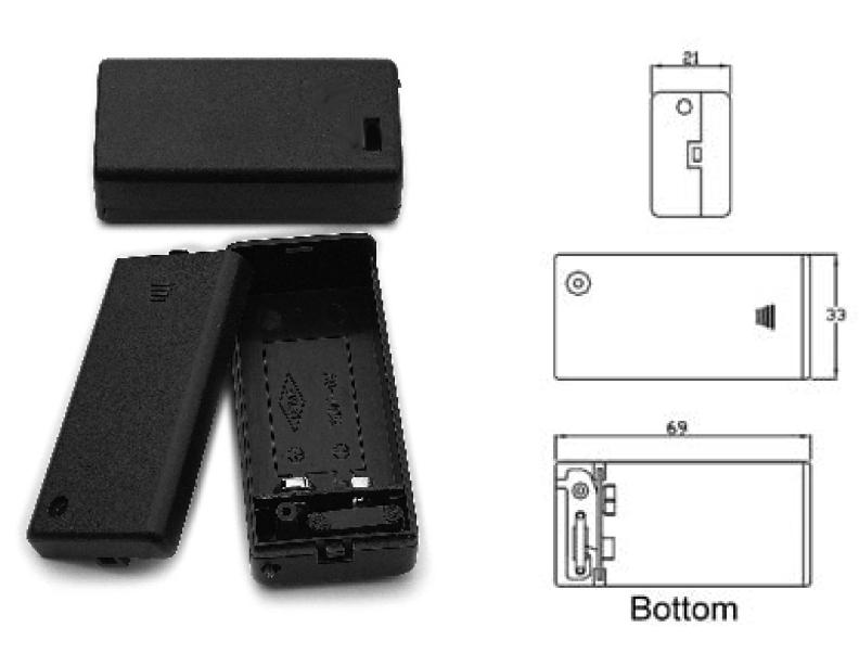 Batteriehalter für 1 x 9-Volt-Block mit Löt-Anschluß