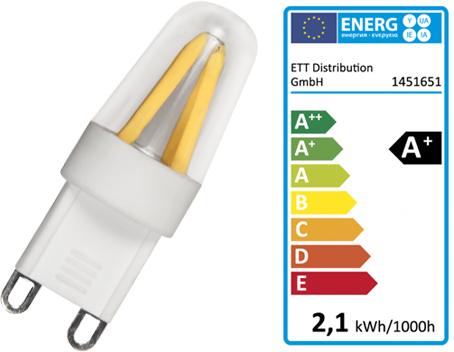 LED Filament Leuchtmittel Lampe G9 180Lumen 1,9W Dimmbar Warmweiß 3000K