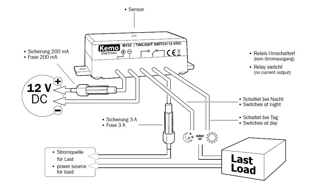 d mmerungsschalter 12v dc mit wechselkontakt m122 kemo l deke elektronic. Black Bedroom Furniture Sets. Home Design Ideas