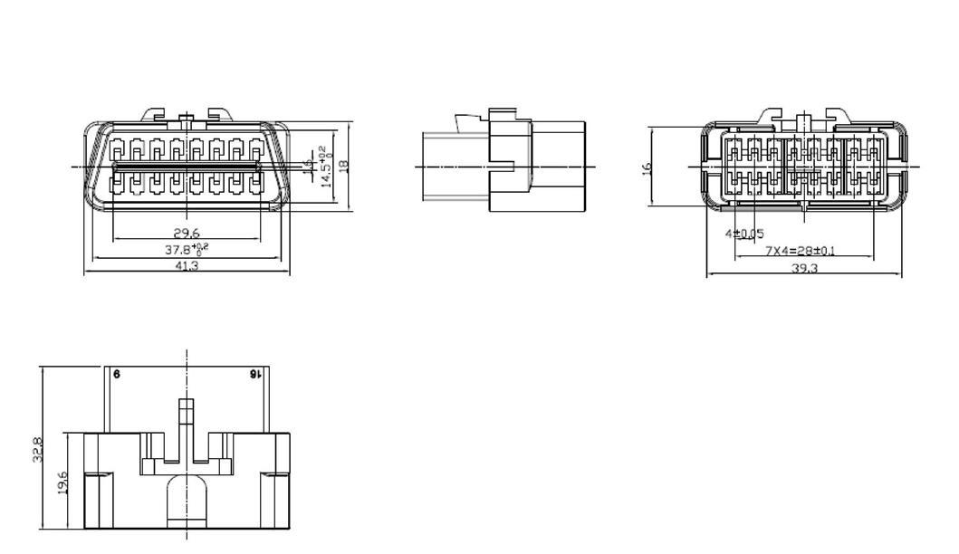 obd ii kfz diagnose stecker inkl 16 einzelkontakte. Black Bedroom Furniture Sets. Home Design Ideas