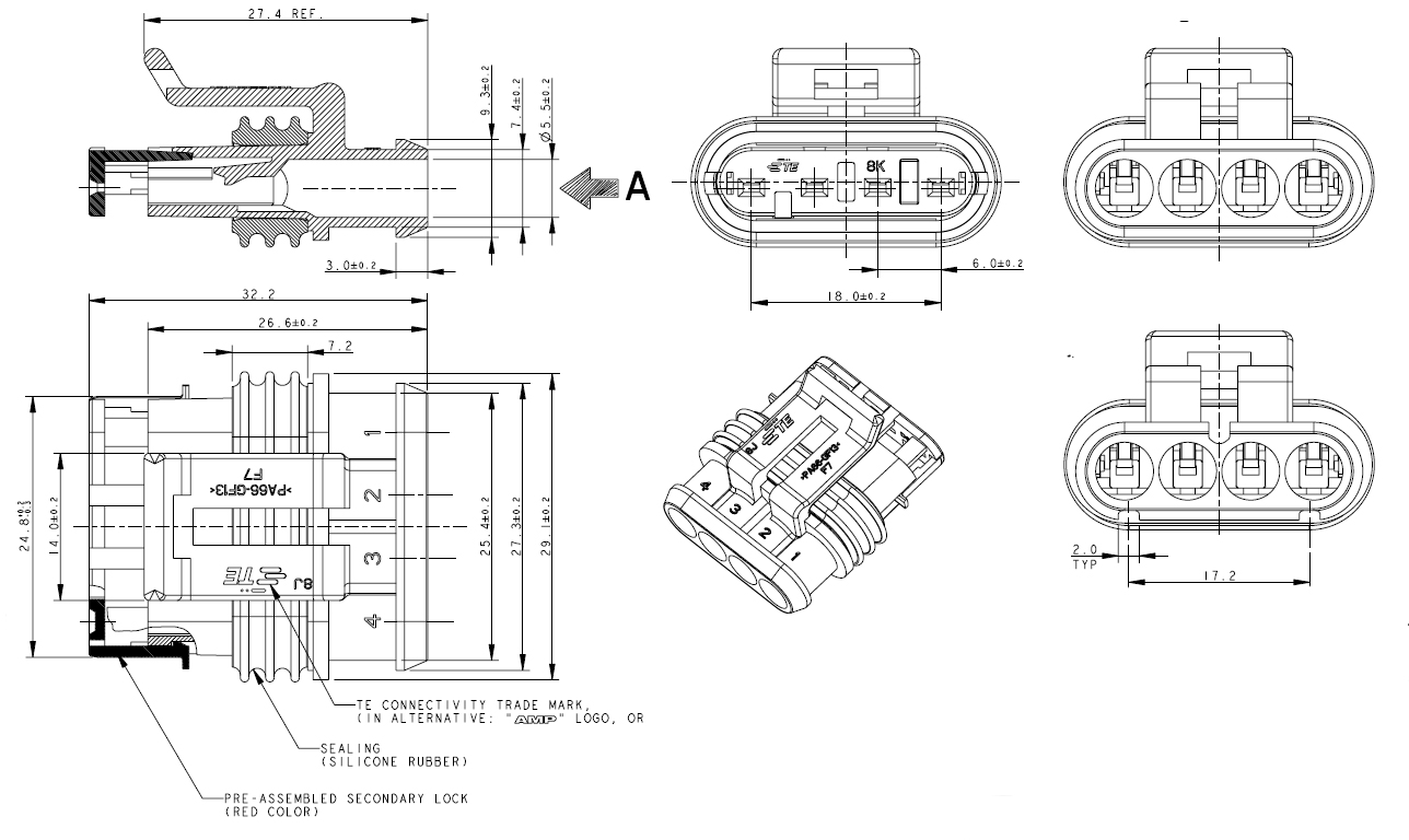 superseal kfz steckverbinder wasserdicht komplettset 4 polig 0 75 1 5mm l deke elektronic. Black Bedroom Furniture Sets. Home Design Ideas