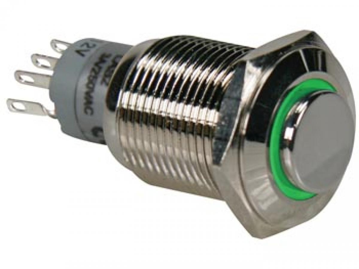 50 Stück Miniatur Taster grün EIN Schließer Drucktaster Stahl Gehäuse