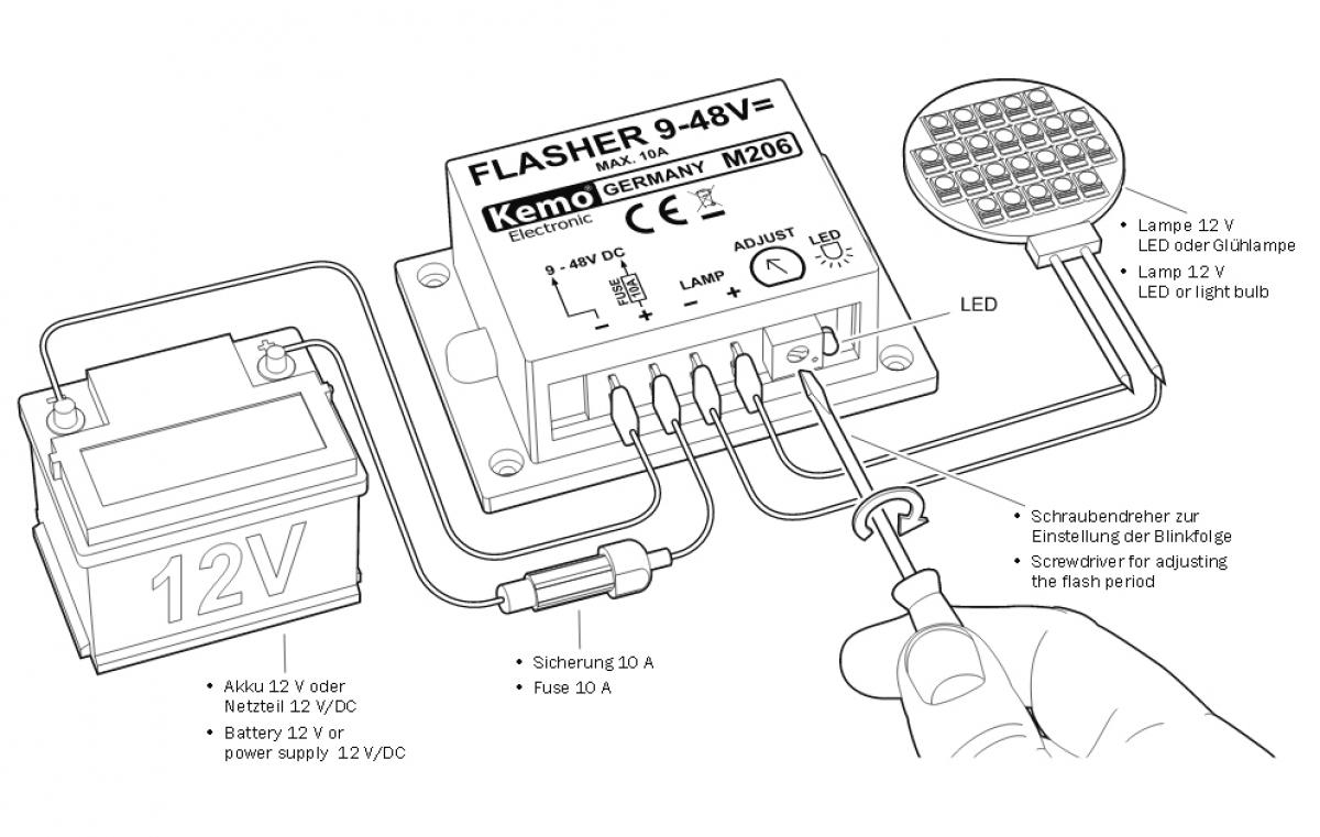 Blinker Blinkgeber Fr Led Leuchtmittel Und Glhlampen 9v 48v Dc Max Light Circuit Diagram 10a M206 Kemo