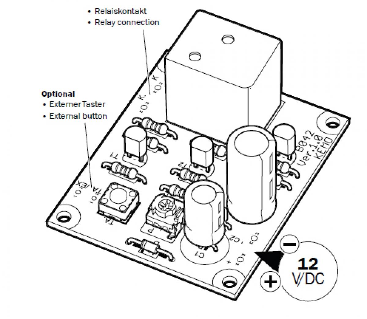 Zeitschalter Zeitrelais 12V B042 Kemo Bausatz | Lüdeke Elektronic