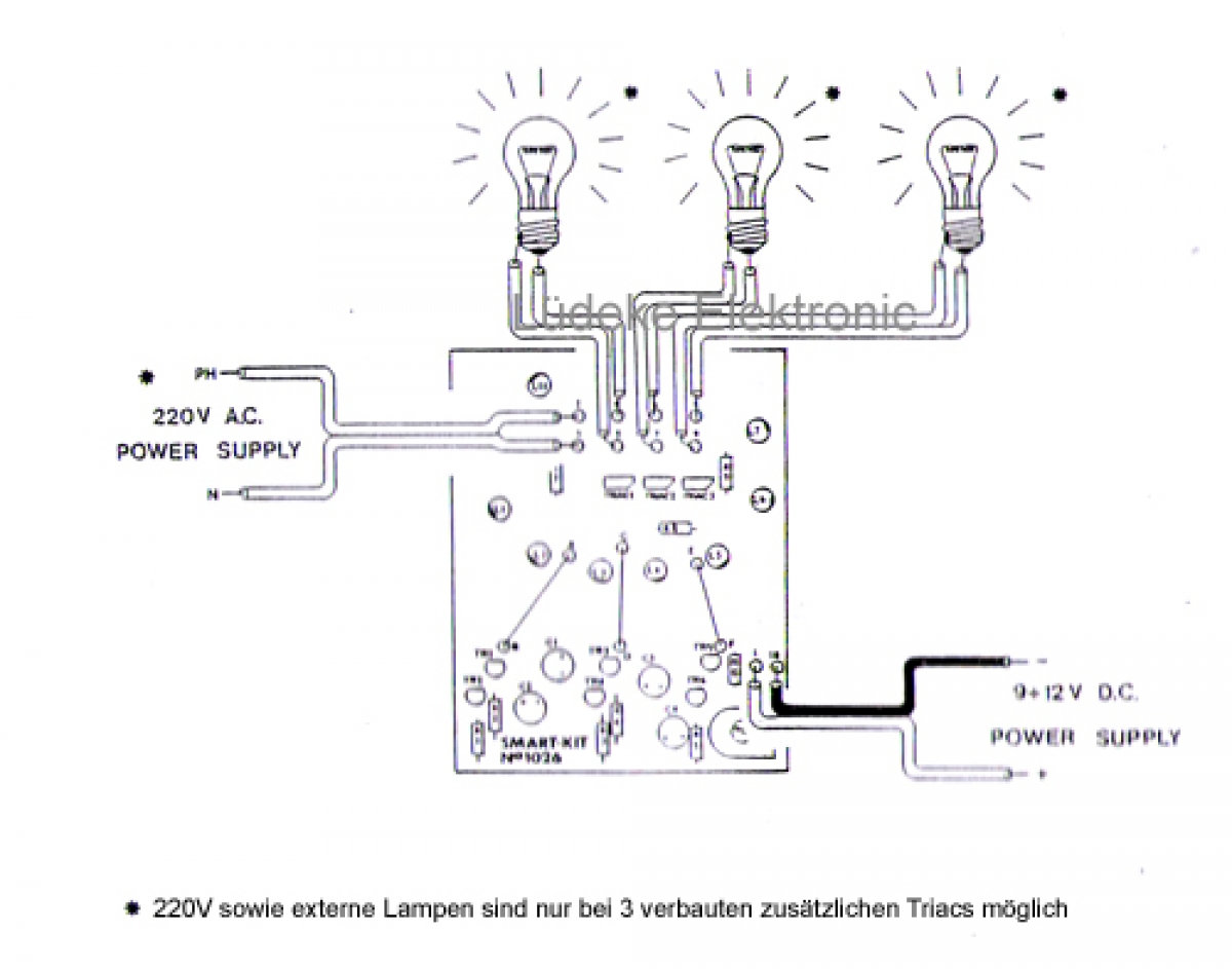 3 kanal led lauflicht lichteffekt 9v 12v b1026 smart kit bausatz l deke elektronic. Black Bedroom Furniture Sets. Home Design Ideas