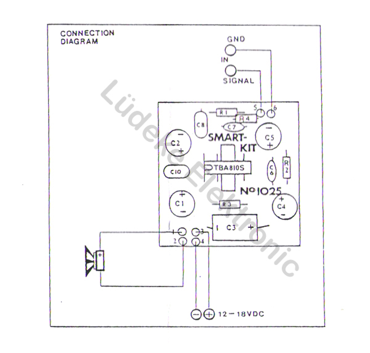 Hifi Verstrker Mono 7 Watt 12v 18v B1025 Smart Kit Bausatz 32ohms Usb Interface Female Circuit Diagram Of Mp3 Player
