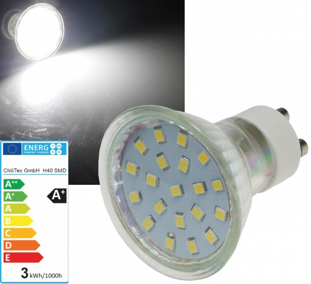 LED Strahler Leuchtmittel GU10 230V 3W neutralweiß 4000k 300lm EEK ...