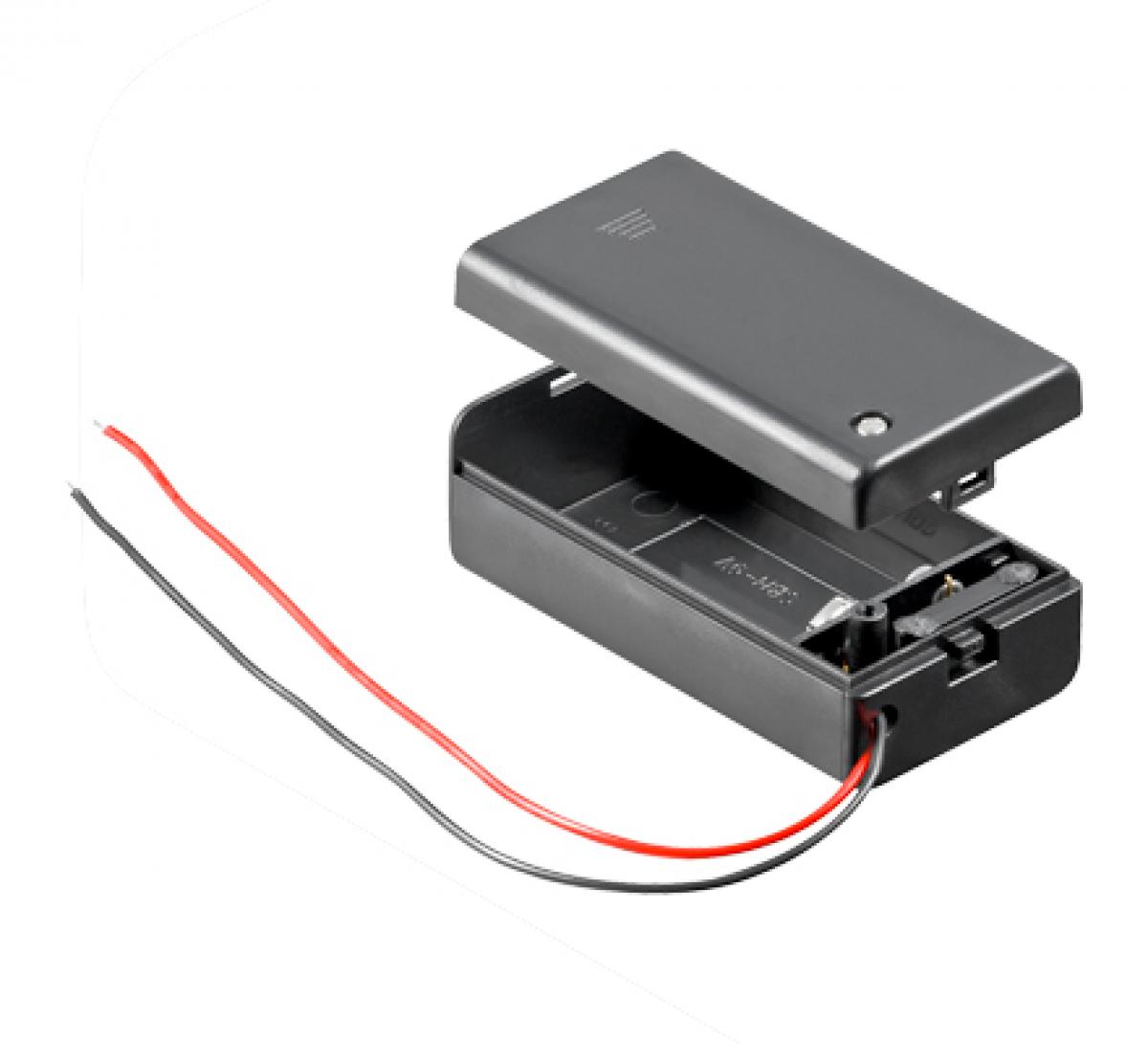 batteriehalter 1 x 9 volt block im geschlossenen geh use. Black Bedroom Furniture Sets. Home Design Ideas
