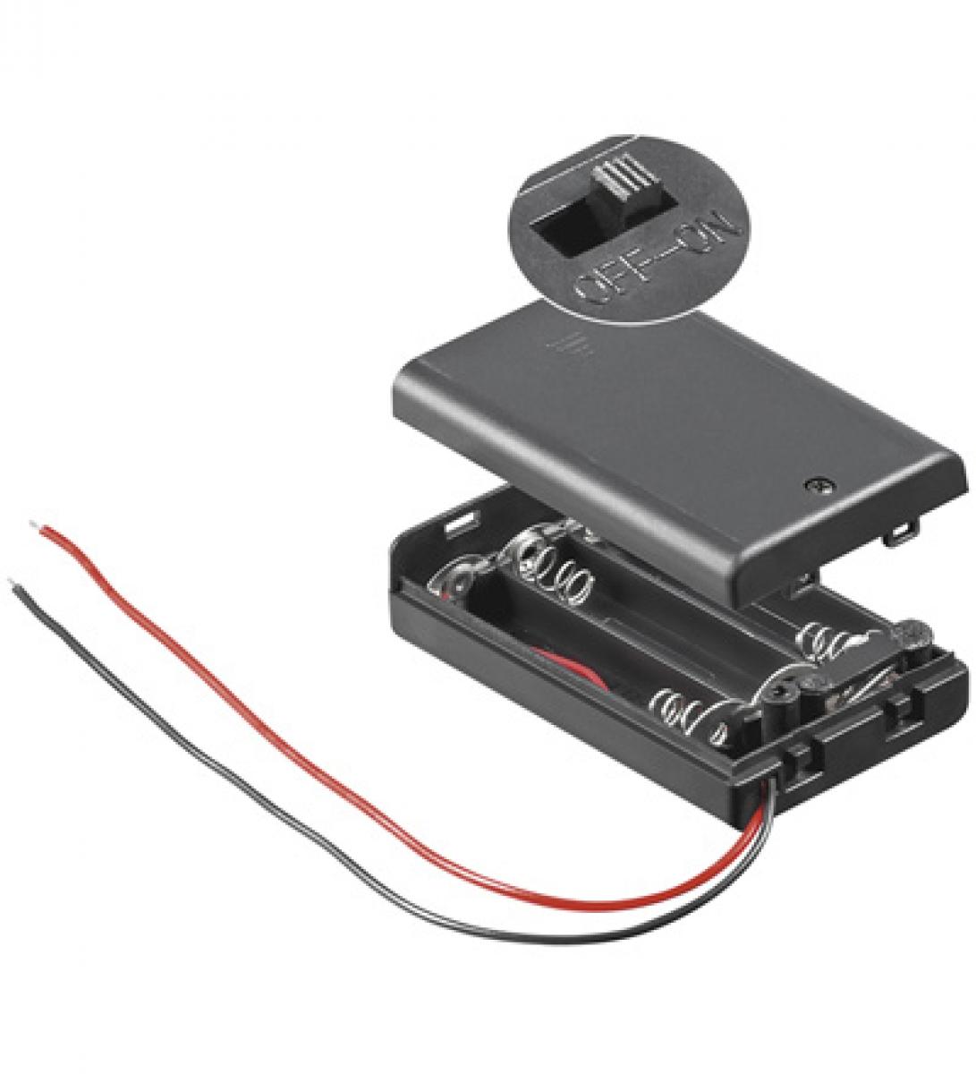 Batterie Halter für 3 x Micro AAA mit Deckel und Schalter | Lüdeke ...