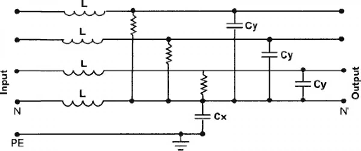 Entstörfilter 440v Ac 3 Phasen L1 L2 L3 U V W 10a Cx100nf Cy