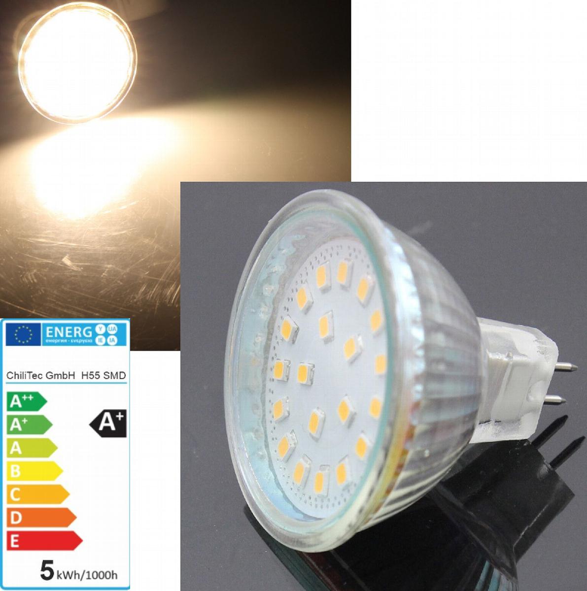 led leuchtmittel 12v mr16 warmwei 400lm 24 smd leds eek a l deke elektronic. Black Bedroom Furniture Sets. Home Design Ideas