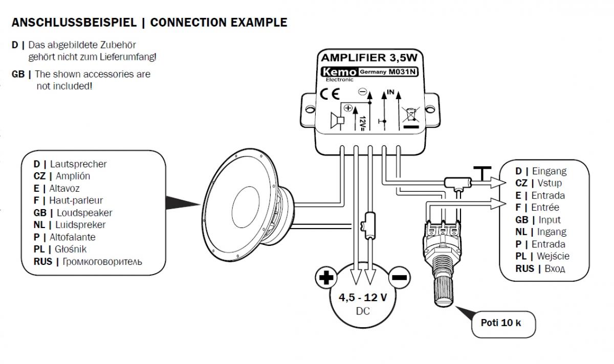 35watt Verstrker Mono Modul M031n Kemo Ldeke Elektronic 5 Watt Amplifier Circuit Diagram 45v 12v Dc