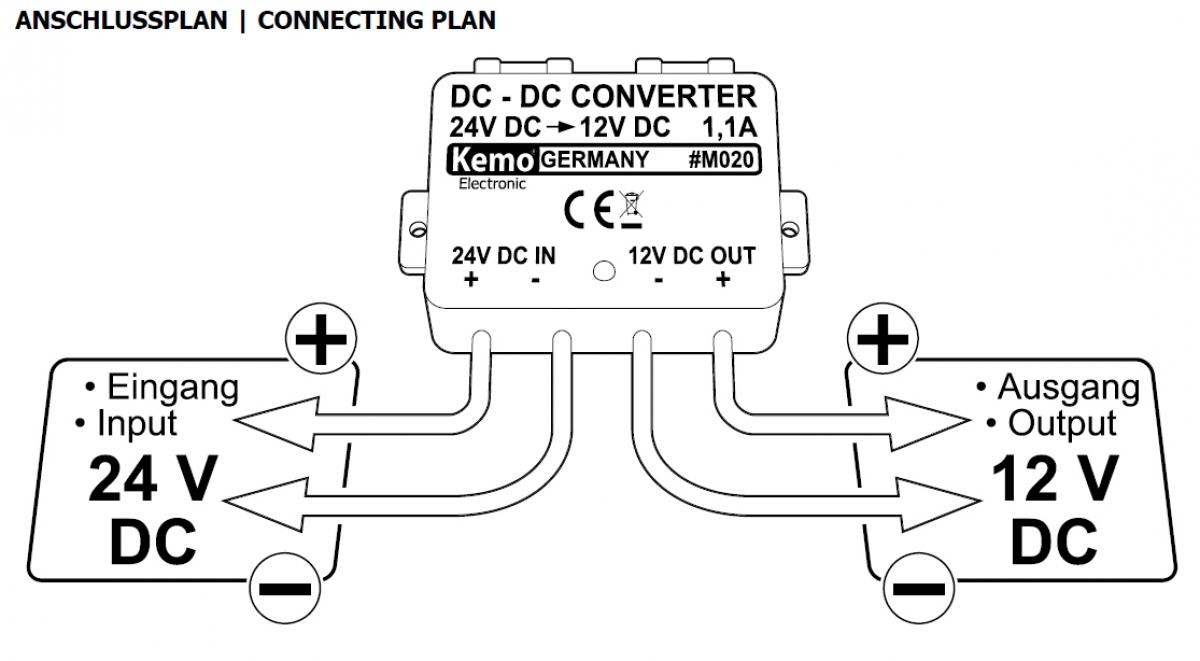 Spannungswandler 24V auf 12V 1,1Ampere M020 Kemo   Lüdeke Elektronic