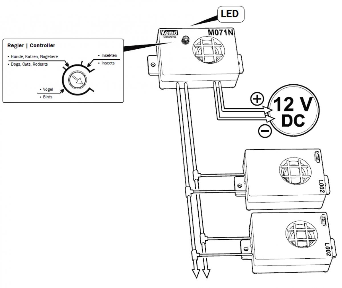 Ultraschallgenerator Ungezieferscheuche 12V M071N Kemo | Lüdeke ...