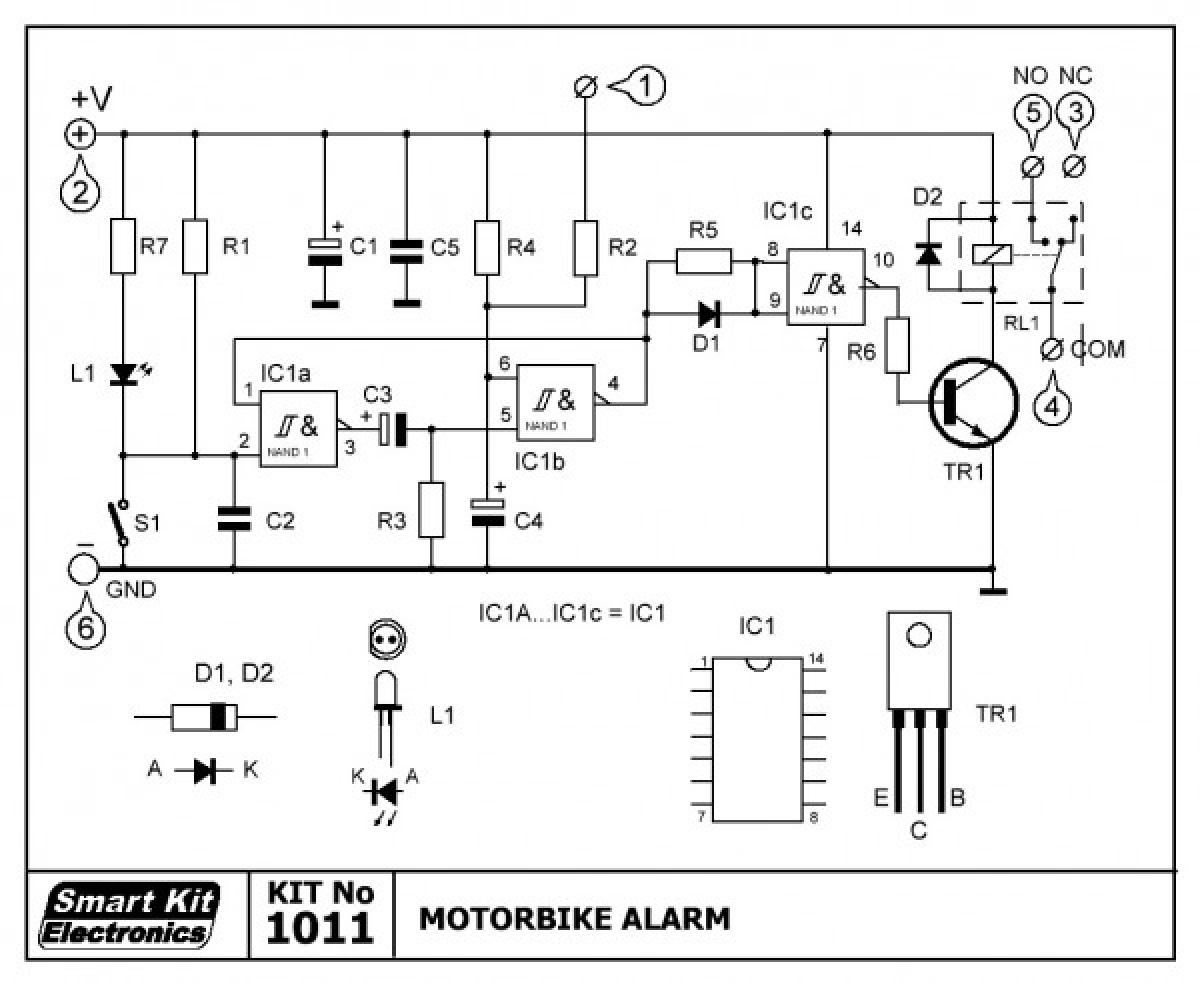 motorrad alarmanlage mit vibrationskontakt 12v b1011 smart kit